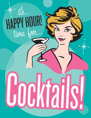 Rétro style d'affiche Cocktails ou invitation. Vector illustration vintage style rétro affiche de Cocktail Happy Hour, Banque d'images - 54578234