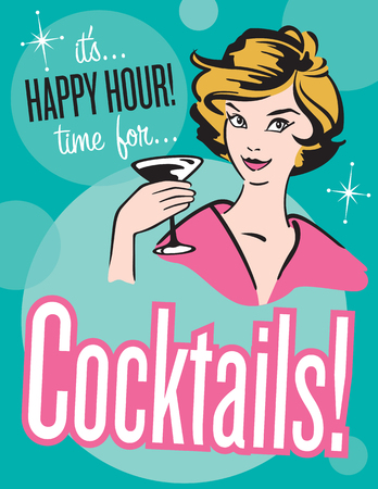 tipsy: Retro style Cocktails poster or invitation.  Vector illustration of vintage, retro style Happy Hour Cocktail poster