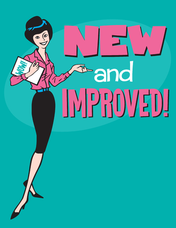 new and improved: New and Improved retro design.  Vintage style vector design with cartoon woman and the phrase New and Improved.