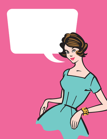stereotypical: Retro 1950s Housewife.  Vector illustration of stereotypical 1950s housewife with speech bubble.