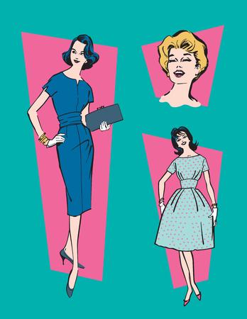 retro housewife: Retro 1950s Women.  Set of three vector illustrations of classic, mid-century 1950s women.