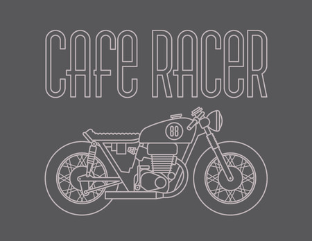 Heavy outline vector illustration of classic cafe racer motorcycle Иллюстрация