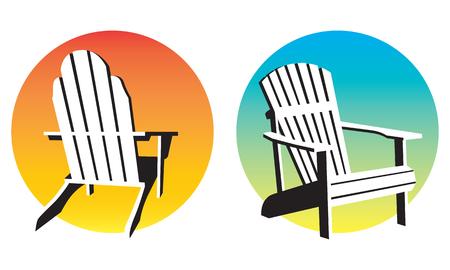 sillon: Silla Adirondack Gráficos puesta del sol. Vectores