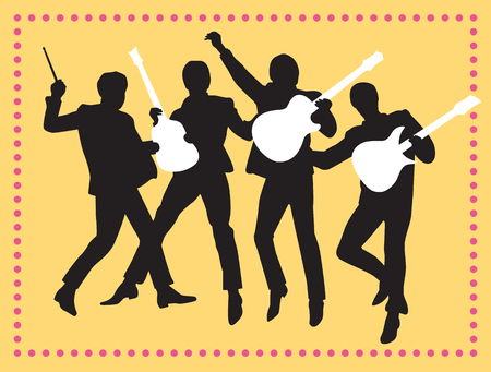 invation: Fab Four friends Silhouette Vector Illustration