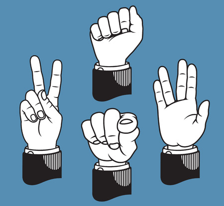Set of four hand gestures based on classic printers pointers including peace sign, fist, pointing finger, and vulcan salute. 向量圖像