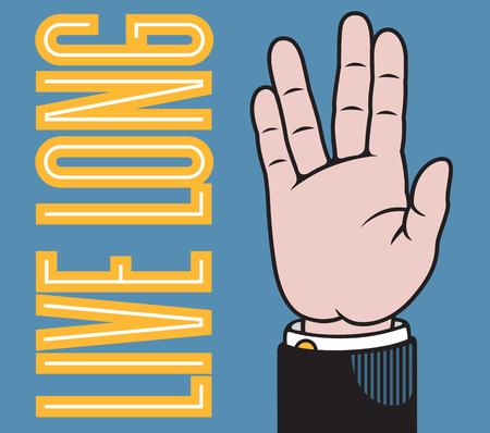 従来のプリンターのポインターに基づくバルカン敬礼で広がる指と長い手の図を住んでいます。