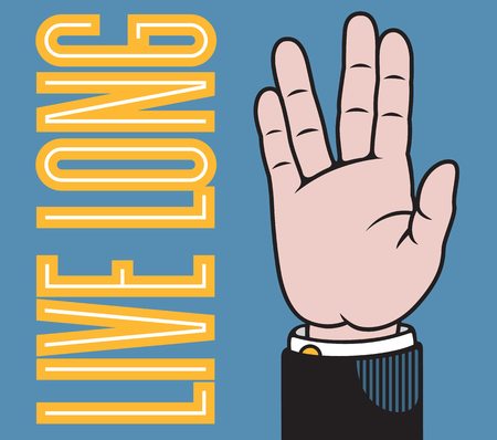 Leef lang de hand illustratie met gespreide vingers in Vulcan salute gebaseerd op de klassieke printers pointer.