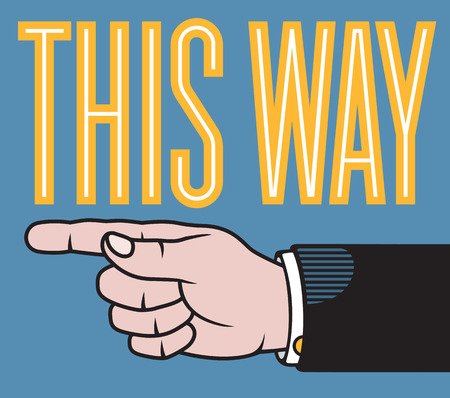 printers: This way hand illustration with pointing finger based on classic printers pointer.