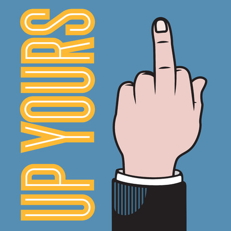 Up yours hand illustration with raised middle finger based on classic printers pointer. Vectores