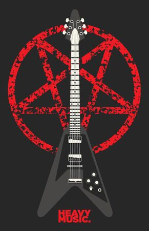 heavy: Heavy metal Guitar and Pentagram design Illustration