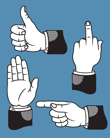 salute: Set of four hand gestures based on classic printers pointers including pointing, stop or wave, middle finger, and thumbs up.