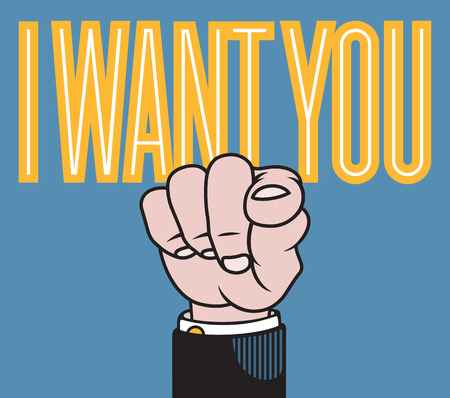 I want you illustration of hand with finger pointed at viewer based on classic printers pointer.