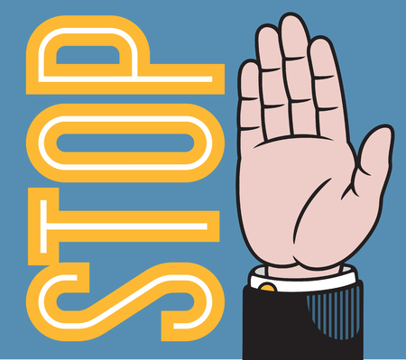 Stop or wave raised hand illustration based on classic printers pointer.