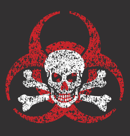 Distressed grunge illustration of bio-hazard symbol with skull and bones.