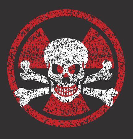 Distressed grunge illustration of nuclear symbol with skull and bones. Illustration