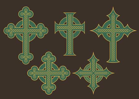 nudos: Conjunto de seis ilustraciones de cruces adornadas con adornos nudo celta.