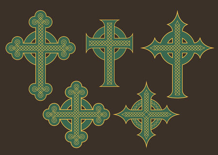 Set of six illustrations of crosses with ornate Celtic knot ornaments.