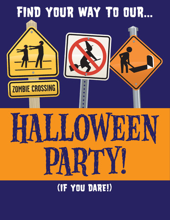 Halloween Zombie Party Vector Template for invitation or poster with Halloween road signs.