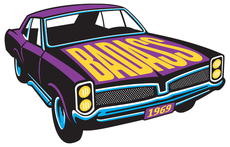 Vector illustration of vintage muscle car with BADASS painted on the hood.