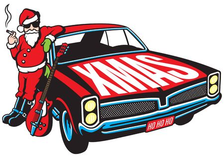 rockabilly: Rock and Roll Santa Claus vector illustration with vintage muscle car and cool guitar. Illustration