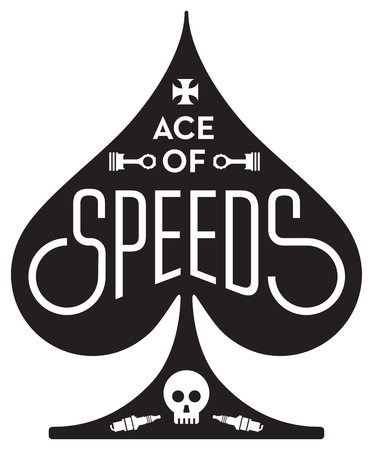 Ace Of Speeds motorcycle or car racing  design featuring ace of spades shape with skull, pistons and spark plug.