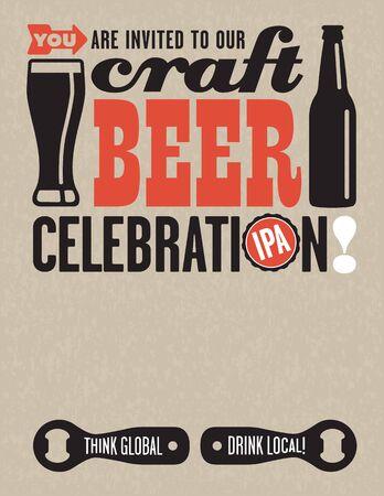 Craft Beer Vector Invitation. Craft Beer Celebration invitation template using vector Illustrations of beer related elements on grunge background.