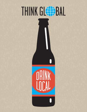 Ambachtelijke bier Vector Design. Think global, drink lokale bierfles ontwerp op grunge achtergrond. Groot voor het menu, teken, uitnodiging of poster.
