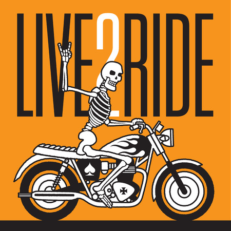 heavy metal: Live 2 Ride Skeleton Biker vector design.  Vector logo or badge featuring a skeleton giving the two fingered devils horns heavy metal salute while riding a vintage motorcycle.