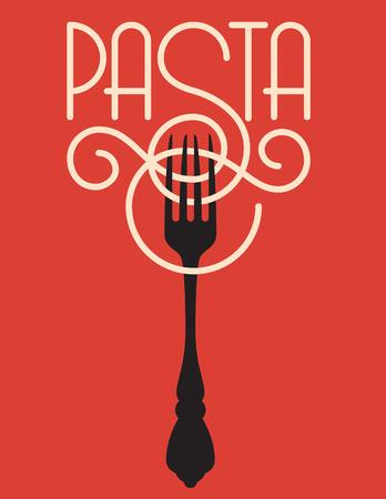 restaurante italiano: Pasta de diseño vectorial. vector logo o insignia con la palabra pasta explicado de espagueti o linguini con la ornamentada S envoltura alrededor de un tenedor.