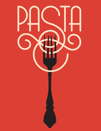 Pasta vector design.  Vector logo or badge featuring the word pasta spelled out of spaghetti or linguine with the ornate S wrapping around a fork. Иллюстрация