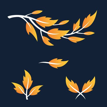 Natural Leaf Ornaments. A set of four vector natural leaf and branch design elements with fall colors.