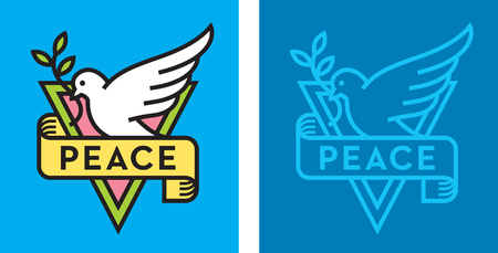 Dove of Peace Logo. Vector logo or badge with bird holding branch with leaves and peace banner. Flat design with thick outline.