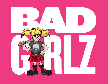 blonde females: Bad Girl Vector Illustration of a young punk rock girl with a skull t-shirt and baseball bat.