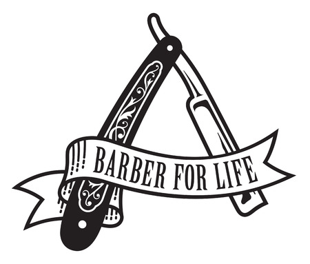 Barber For Life Design. Vector illustration of vintage straight razor with banner that reads Barber For Life.