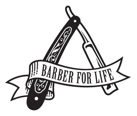 Barbiere per la progettazione di vita. Illustrazione vettoriale di rasoio d'epoca dritto con banner che legge Barber For Life. Archivio Fotografico - 74604554
