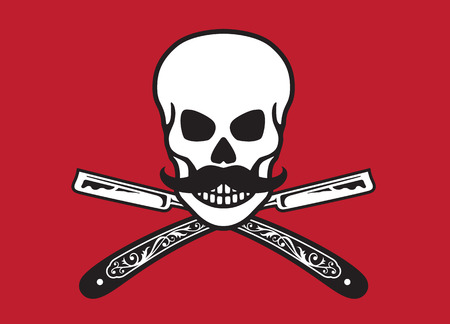 Skull with crossed razors. Vector illustration of skull with moustache and vintage straight razors.