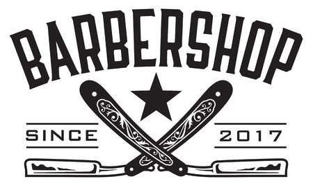 Retro Barbershop Logo Vector design barbershop emblem with crossed straight razors.