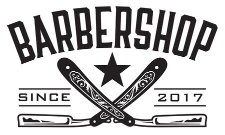 barbershop: Retro Barbershop Logo Vector design barbershop emblem with crossed straight razors.