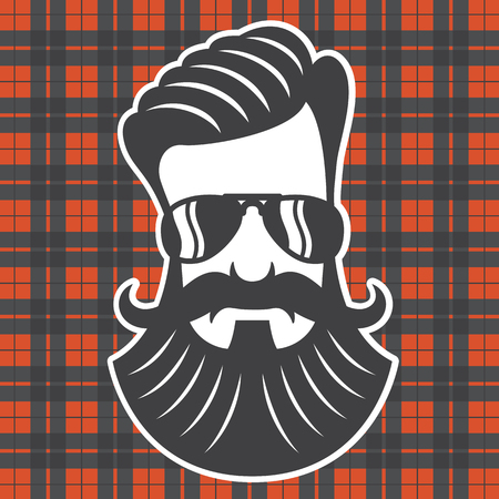 Hipster head on plaid background. Vector cartoon drawing of hipster with beard and mustache. Иллюстрация