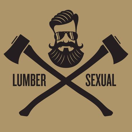 Lumbersexual hipster design. Vector design with crossed axes and hipster head.
