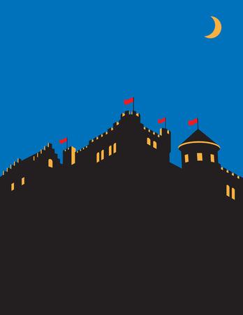 stronghold: Castle vector design. Medieval castle silhouette vector illustration.