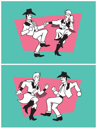 rockabilly: Country Dancers Vector Design. Set of two illustrations of a pair of country dancers in different poses. Illustration