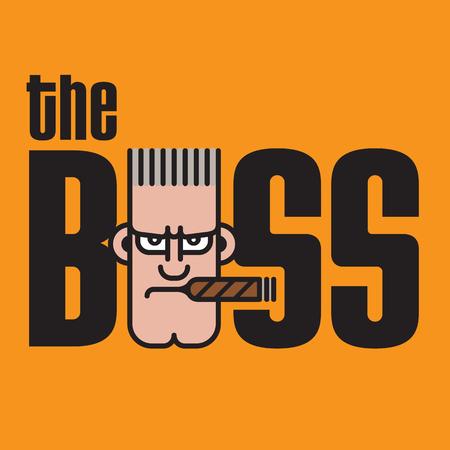 The Boss Vector Design. Vector logo emblem with cartoon boss character.