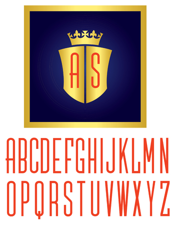 custom letters: Crown and shield logo illustration royal emblem with monogram initials. Includes full alphabet of custom letters for initials.