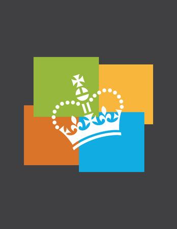 Funky crown design. Fun vector illustration royal crown on multi-colored background. Ilustração