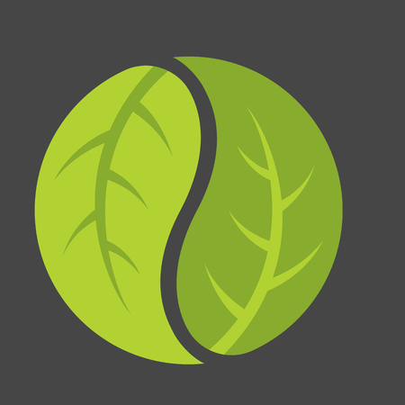 Leaf yin yang logo. Emblem of leaves forming the classic duality symbol of Chinese philosophy. Ilustracja