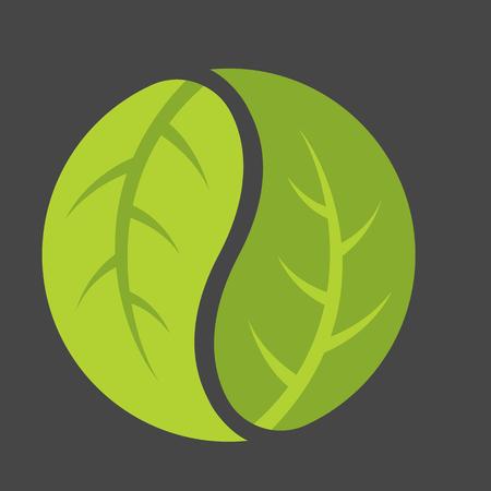 Leaf yin yang logo. Emblem of leaves forming the classic duality symbol of Chinese philosophy. Illustration
