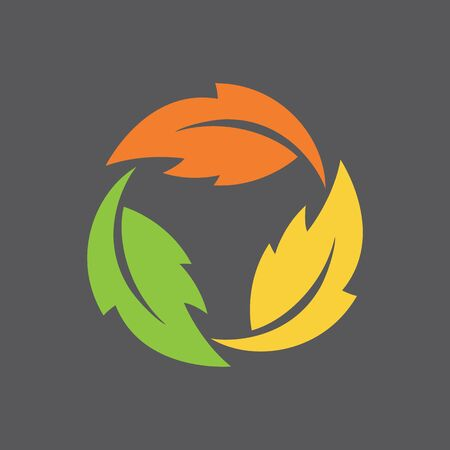 Leaf Infinity Symbol Stylized vector illustration three leaves in a rotating, never-ending circle. Illustration
