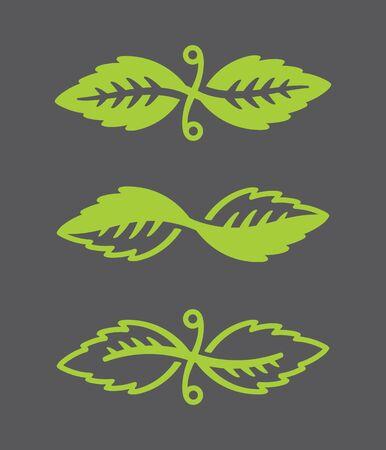 Leaf Vector Logos Stylized illustration of decorative leaf icons.