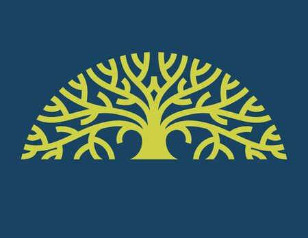 Tree Logo vector. Stylized graphic illustration of mature tree with spreading branches. Иллюстрация
